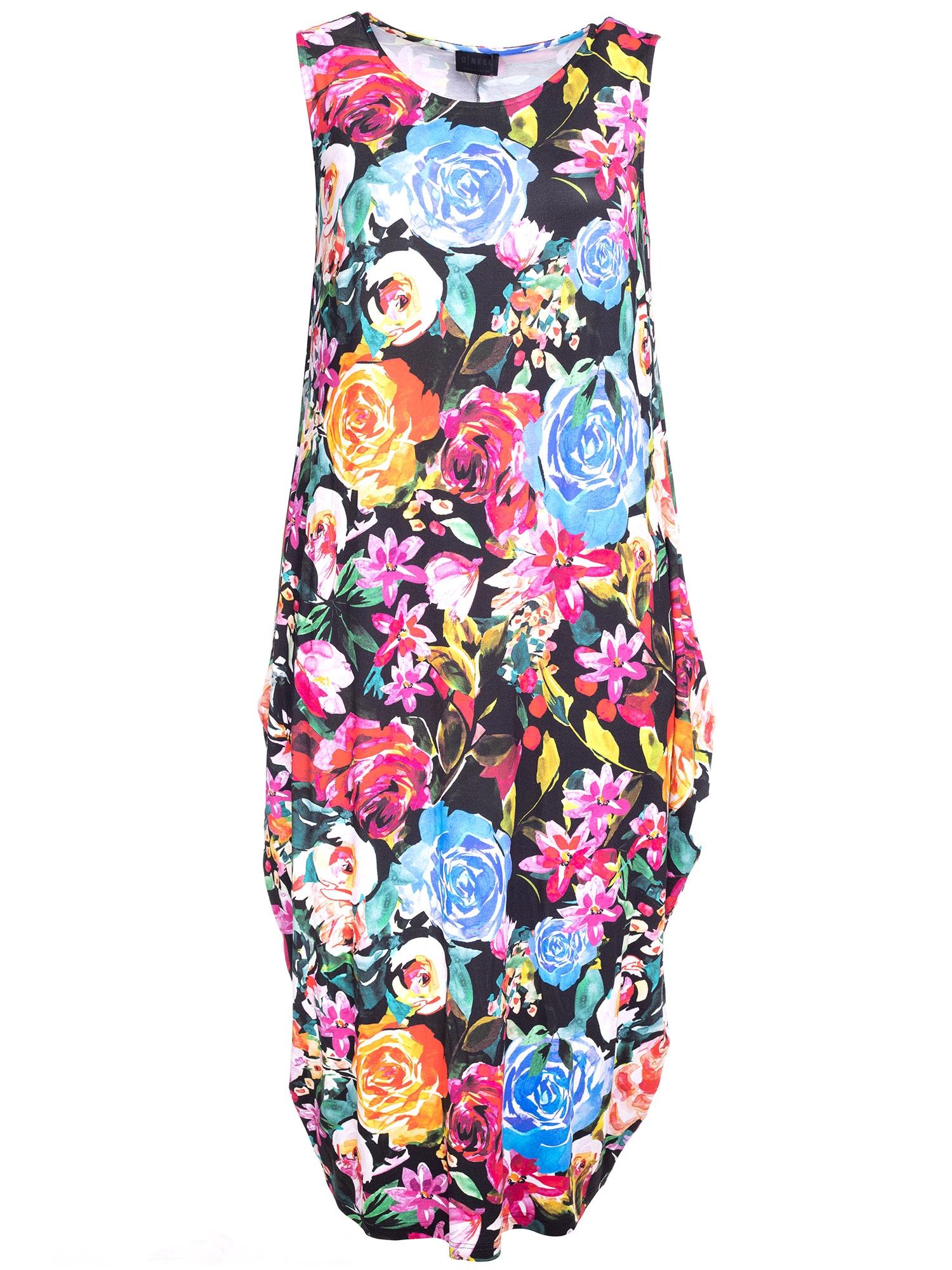 Blomsteret lang kjole i viskosejersey