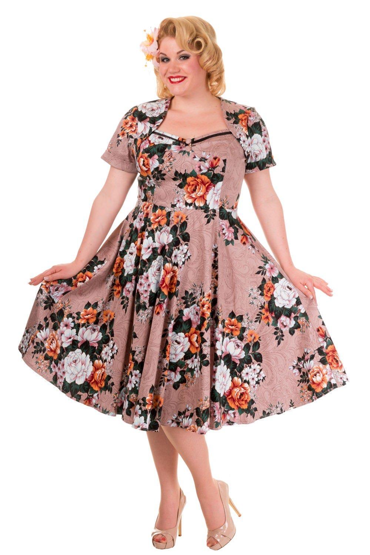 Flot 50er kjole med blomsterprint