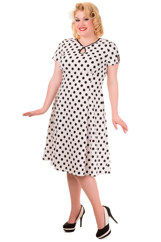 Hvid 50er kjole med sorte prikker