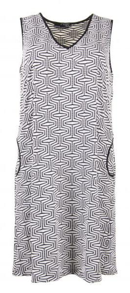 ærmeløs kjole med sort og hvidt grafisk mønster