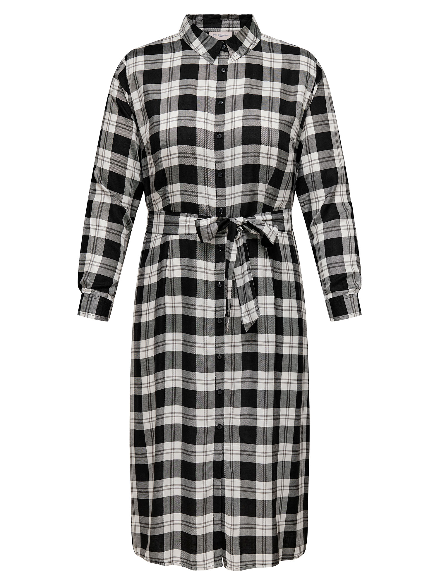 Only Carmakoma Lang skjorte kjole i super flot sort / hvid ternet viskose, 42