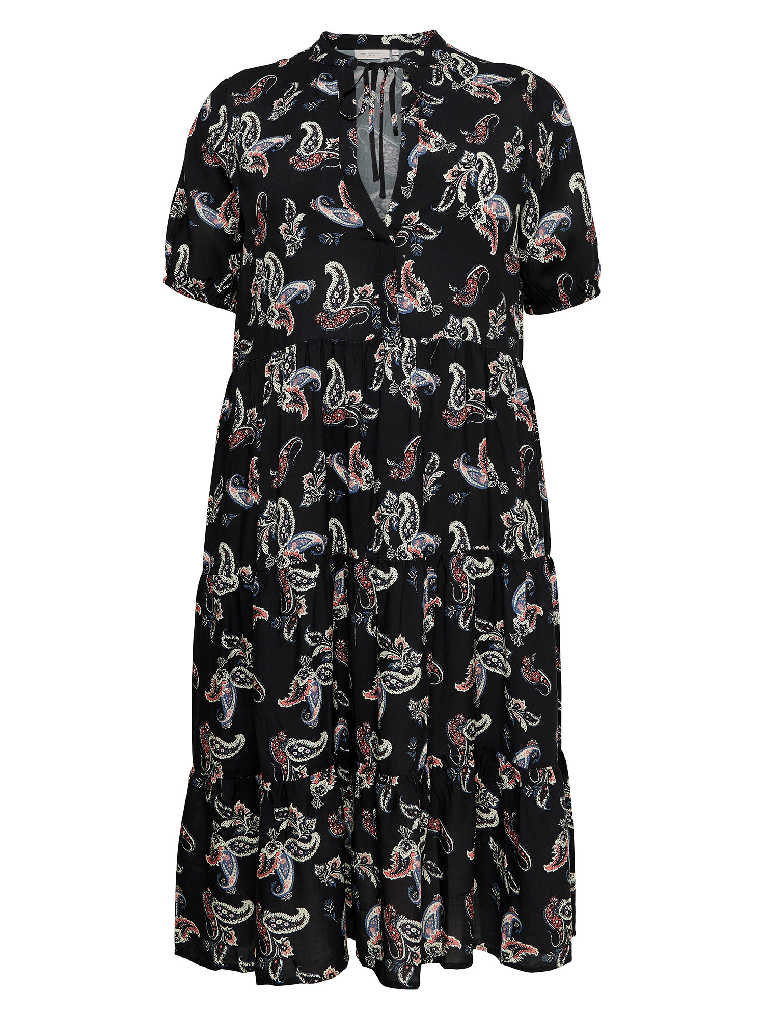 Only Carmakoma Lang sort viskose kjole med flot paisley print, 42