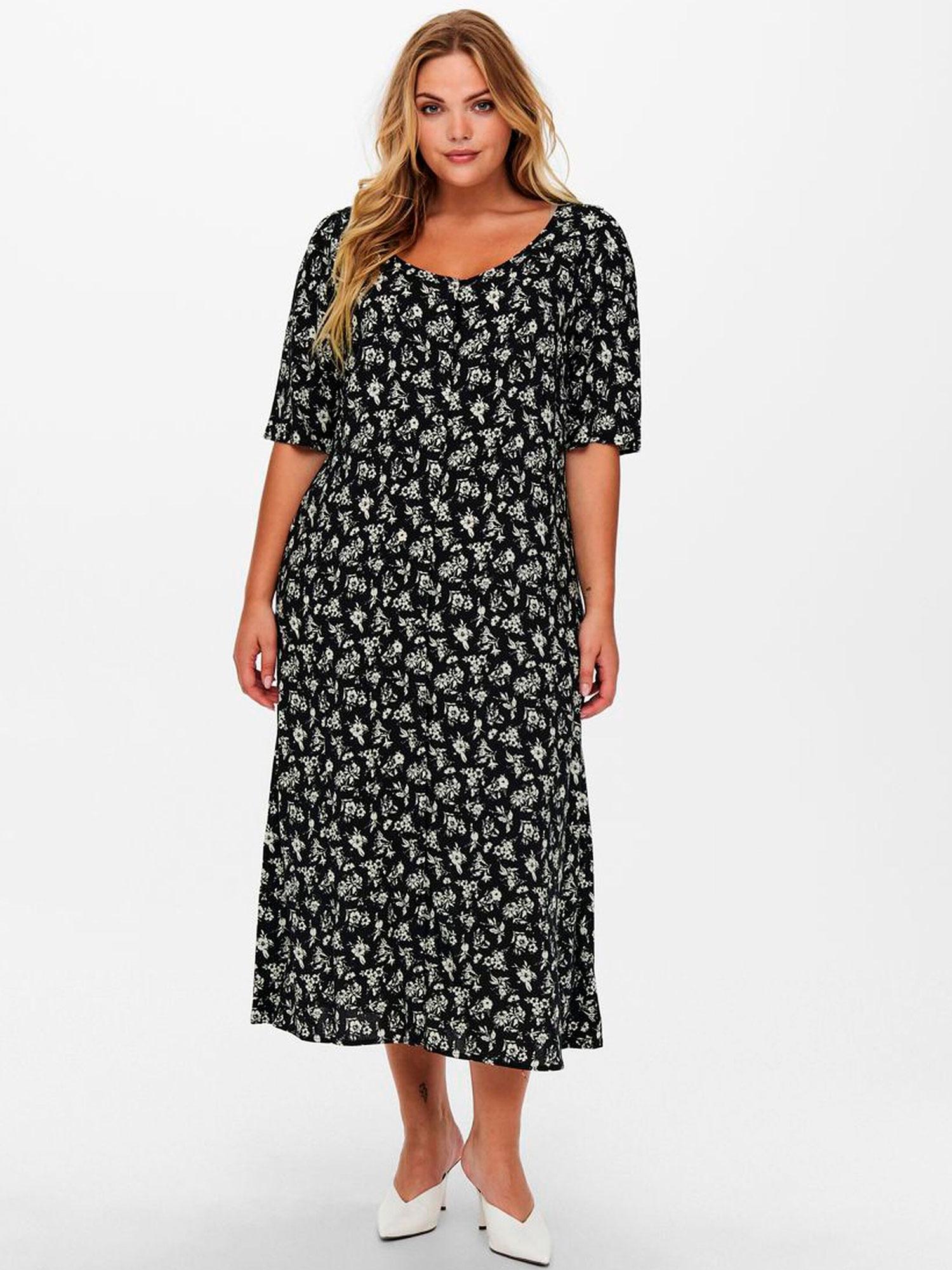 Only Carmakoma Lang sort kjole med hvidt blomsterprint , 42