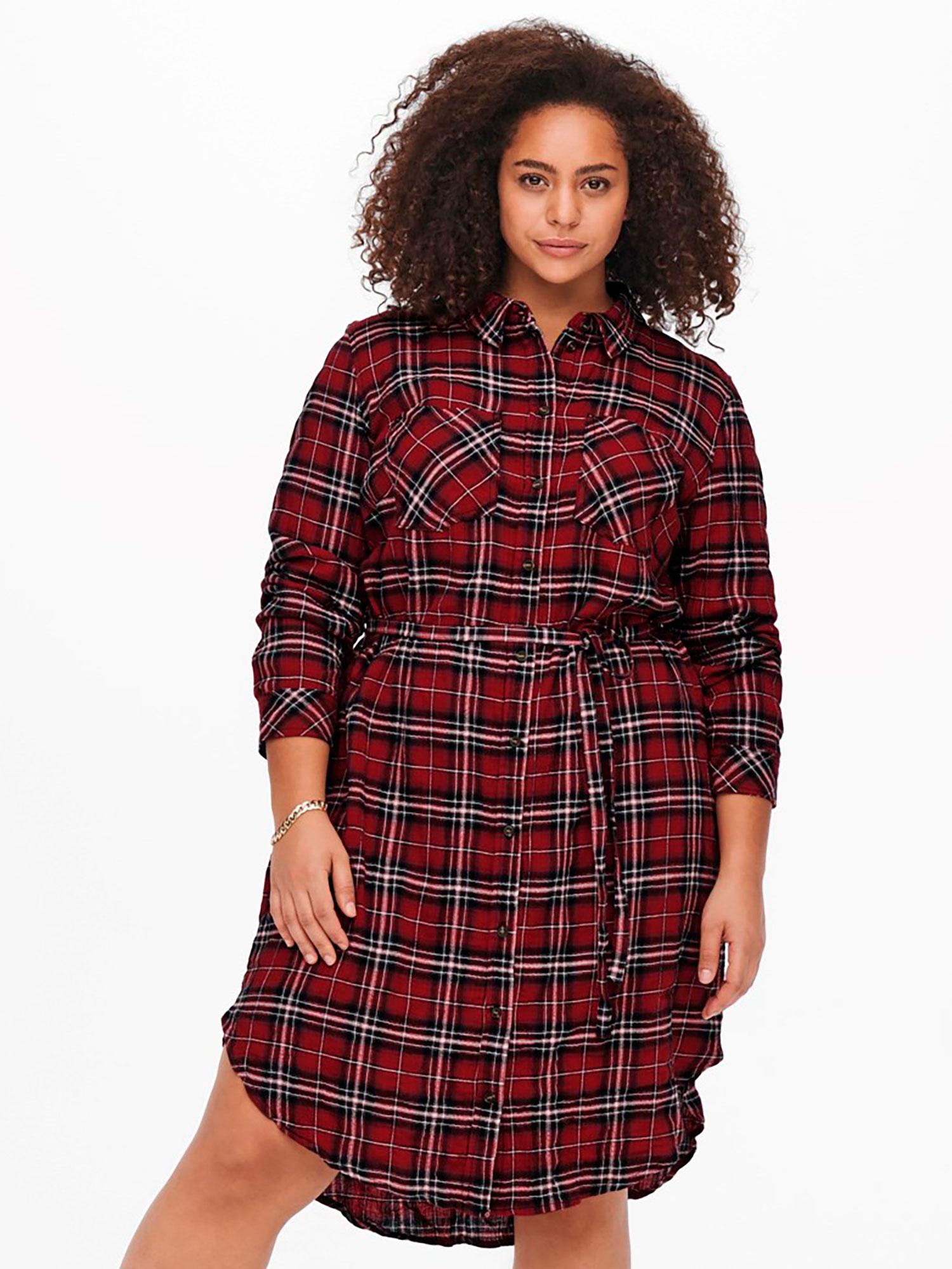 Only Carmakoma Lang skjorte kjole i strækbar bomuld med flotte sort – røde tern, 42
