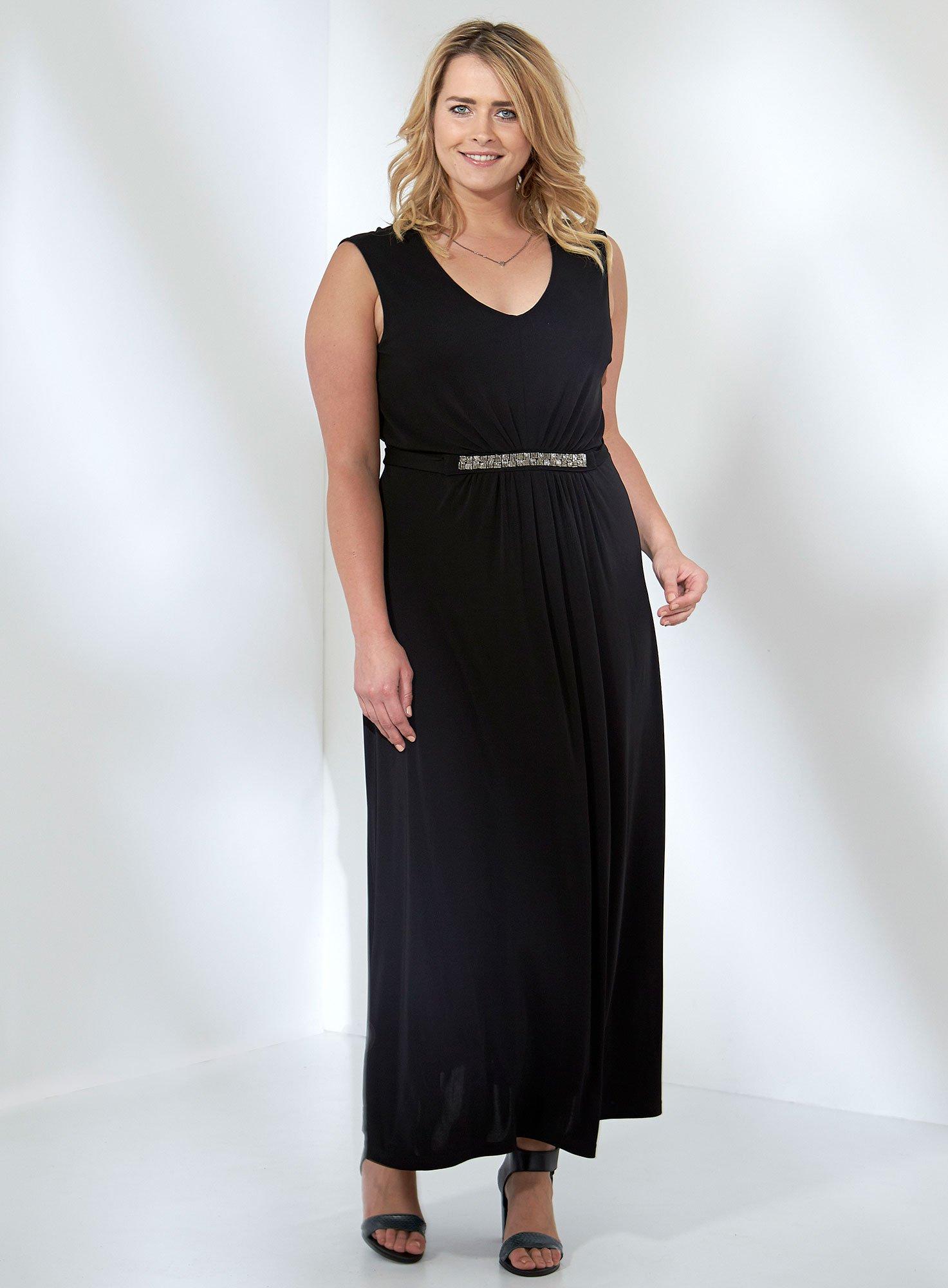 Lang sort fest kjole med bindebånd i taljen