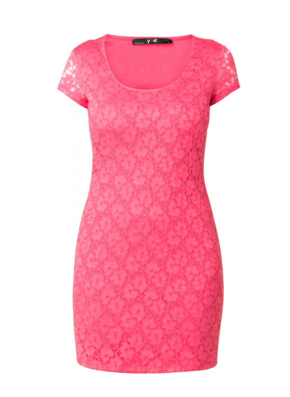 Koral kjole med blonde