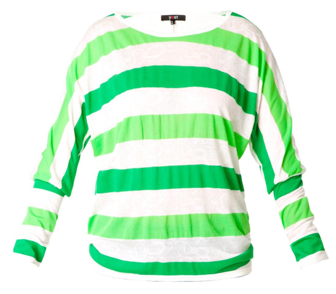 Stribet bluse i grøn/creme