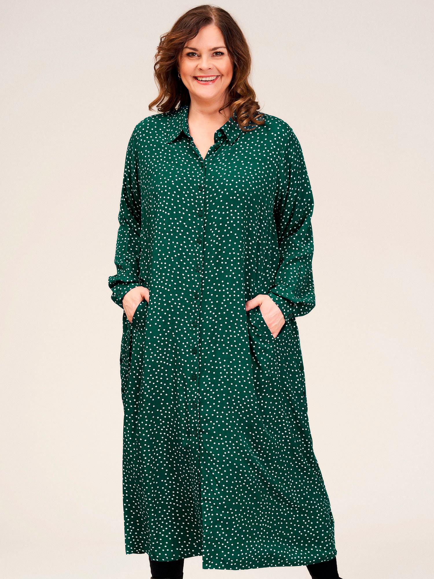 Gozzip Lang grøn viskose kjole med fine hvide prikker, 42-44 / S