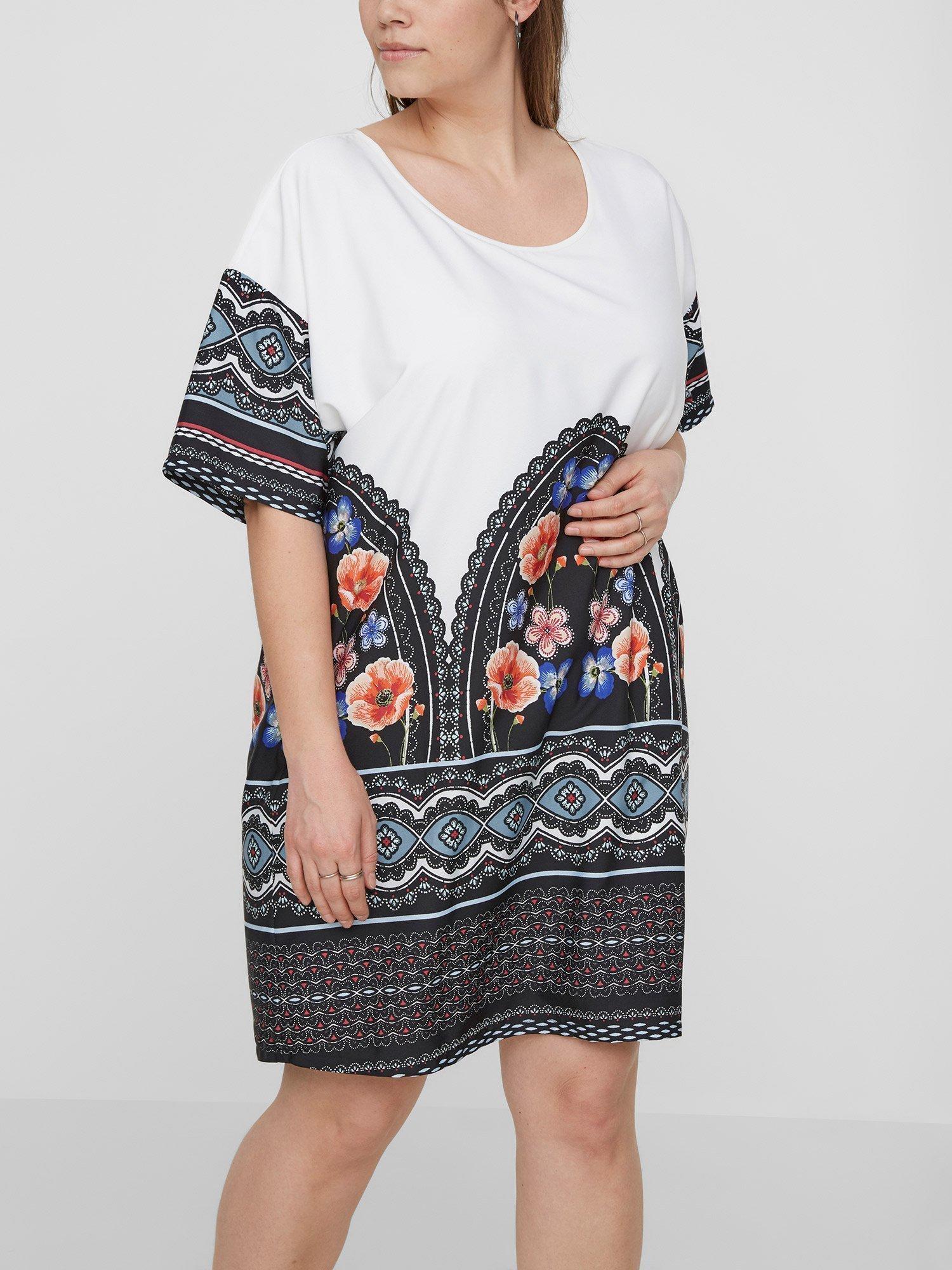 Hvid kjole med flot retroprint