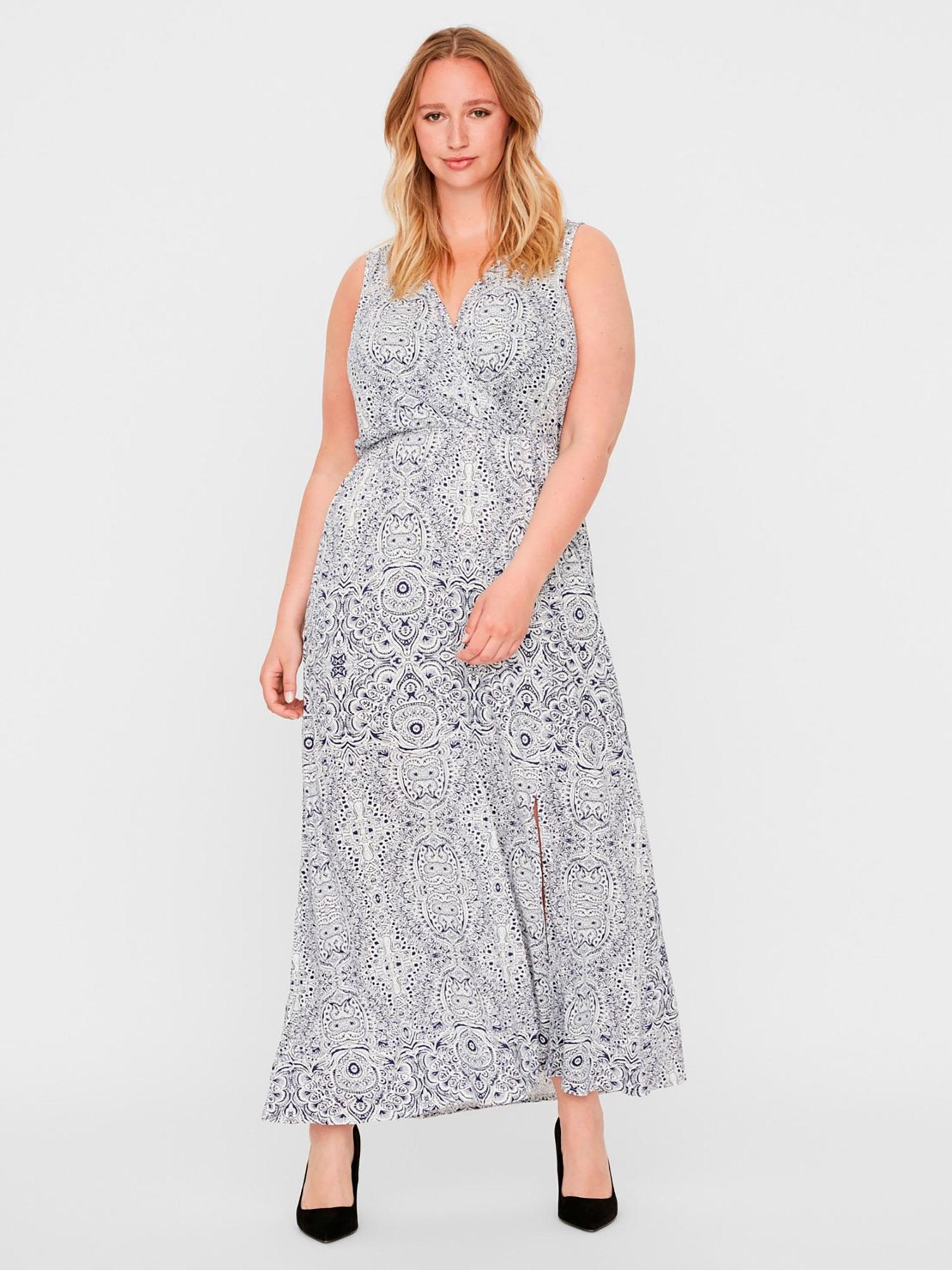 Lang hvid kjole med blåt print