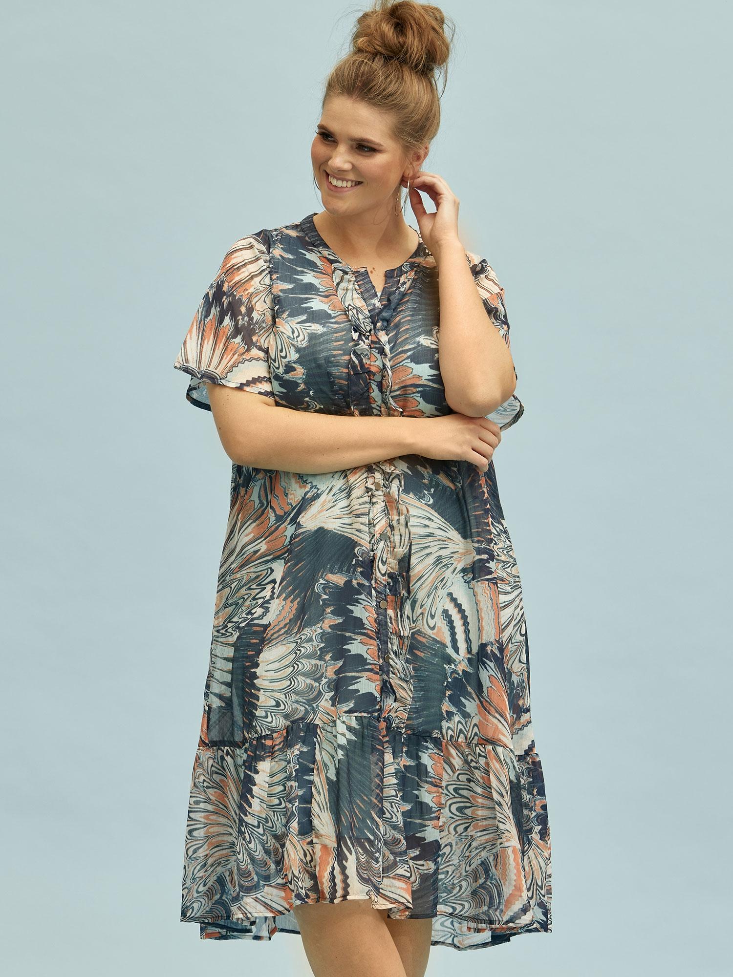 Lang to-lags kjole med smukt blåt mønster