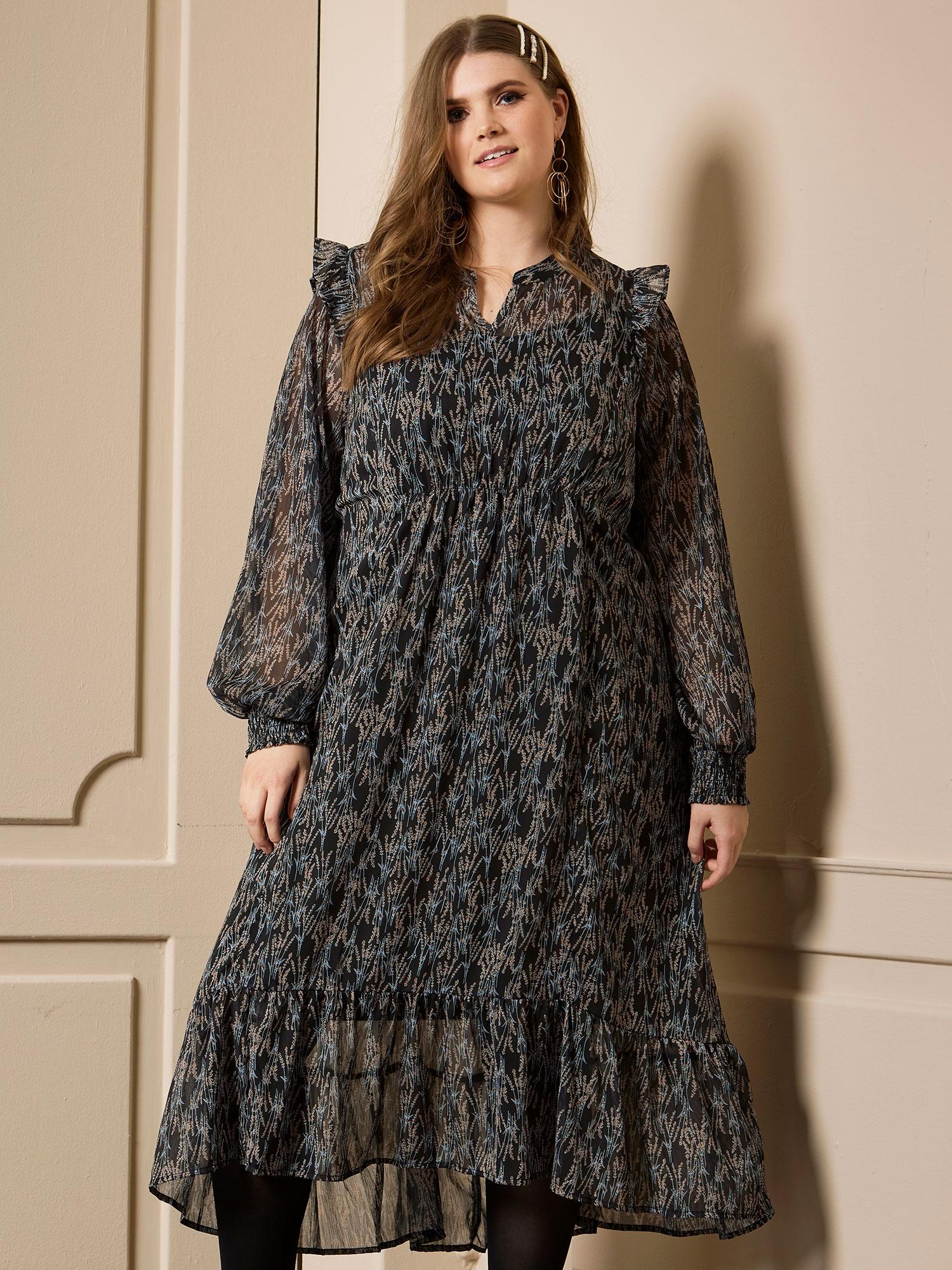Zhenzi Flot lang chiffon kjole med smukt blomster mønster, 50-52 / L