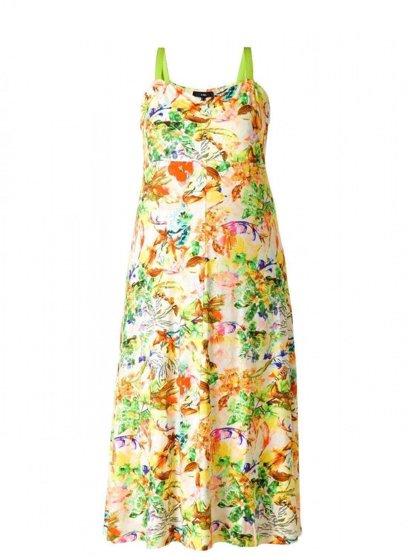 Lime og multi farvet maxi kjole