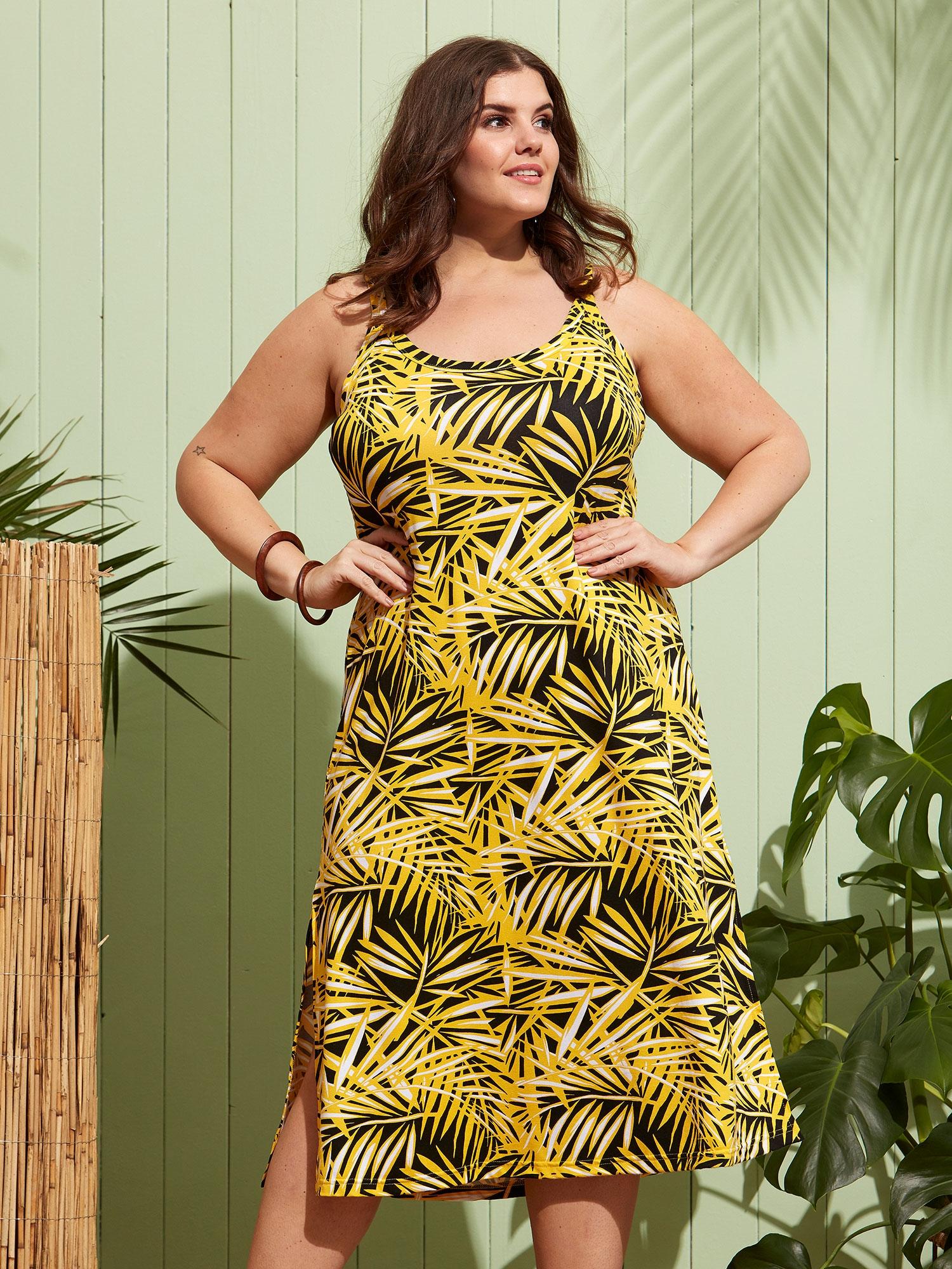 Zhenzi Lang gul kjole med sort print , 50-52 / L