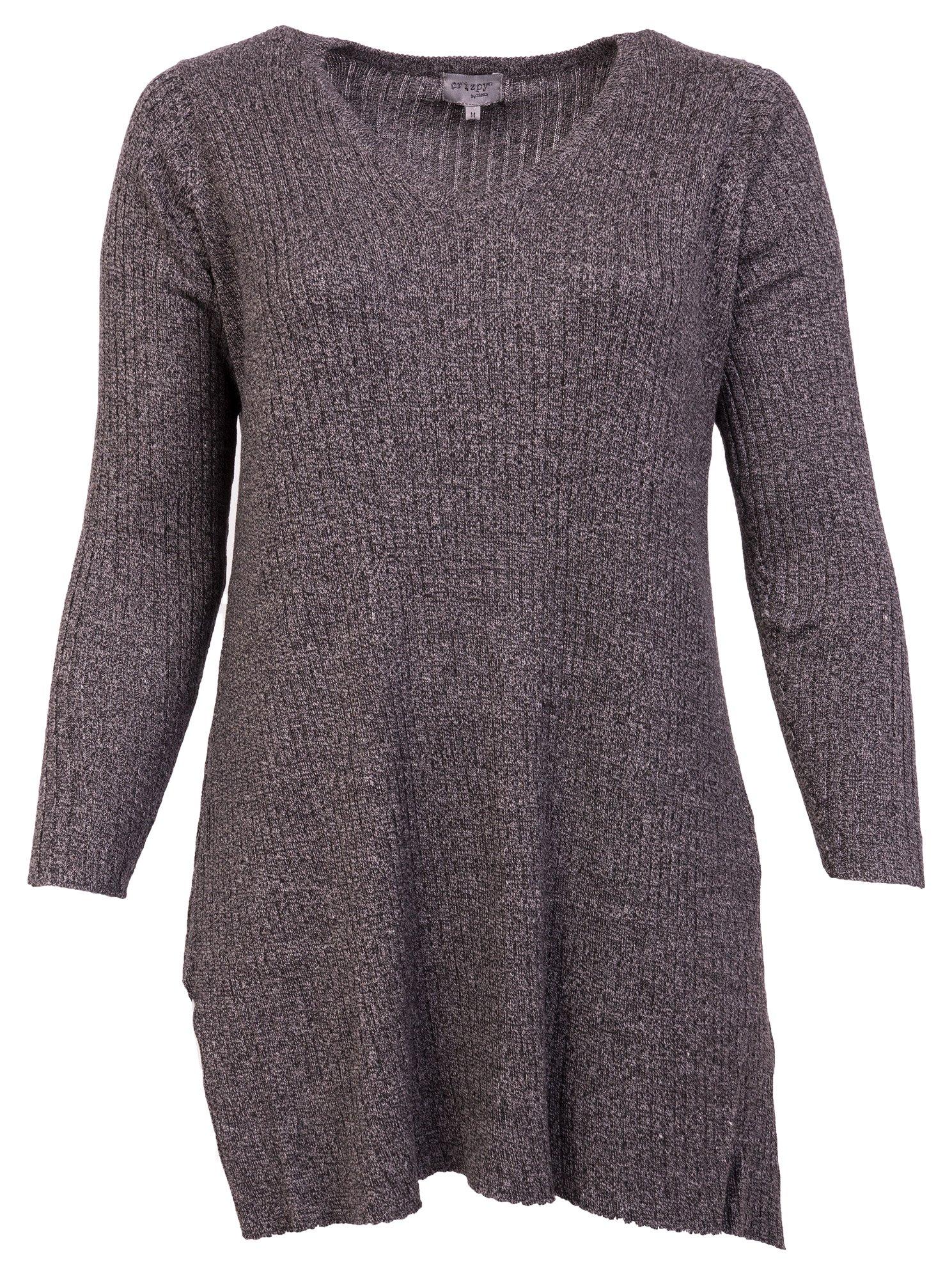 Strik bluse i farven grå