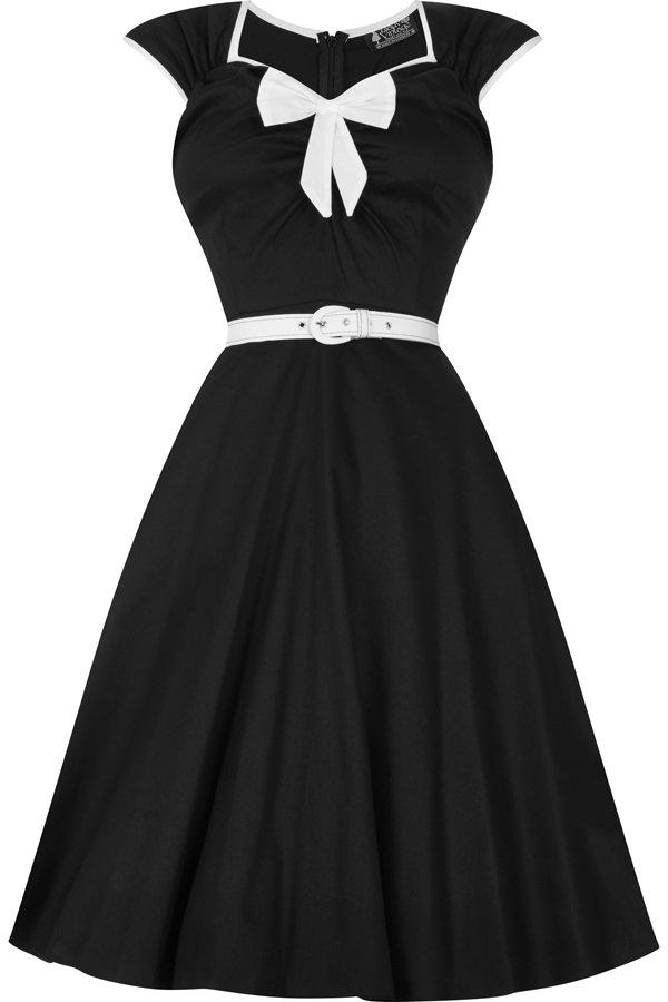 Sort 50er kjole med hvid sløjfe og bælte