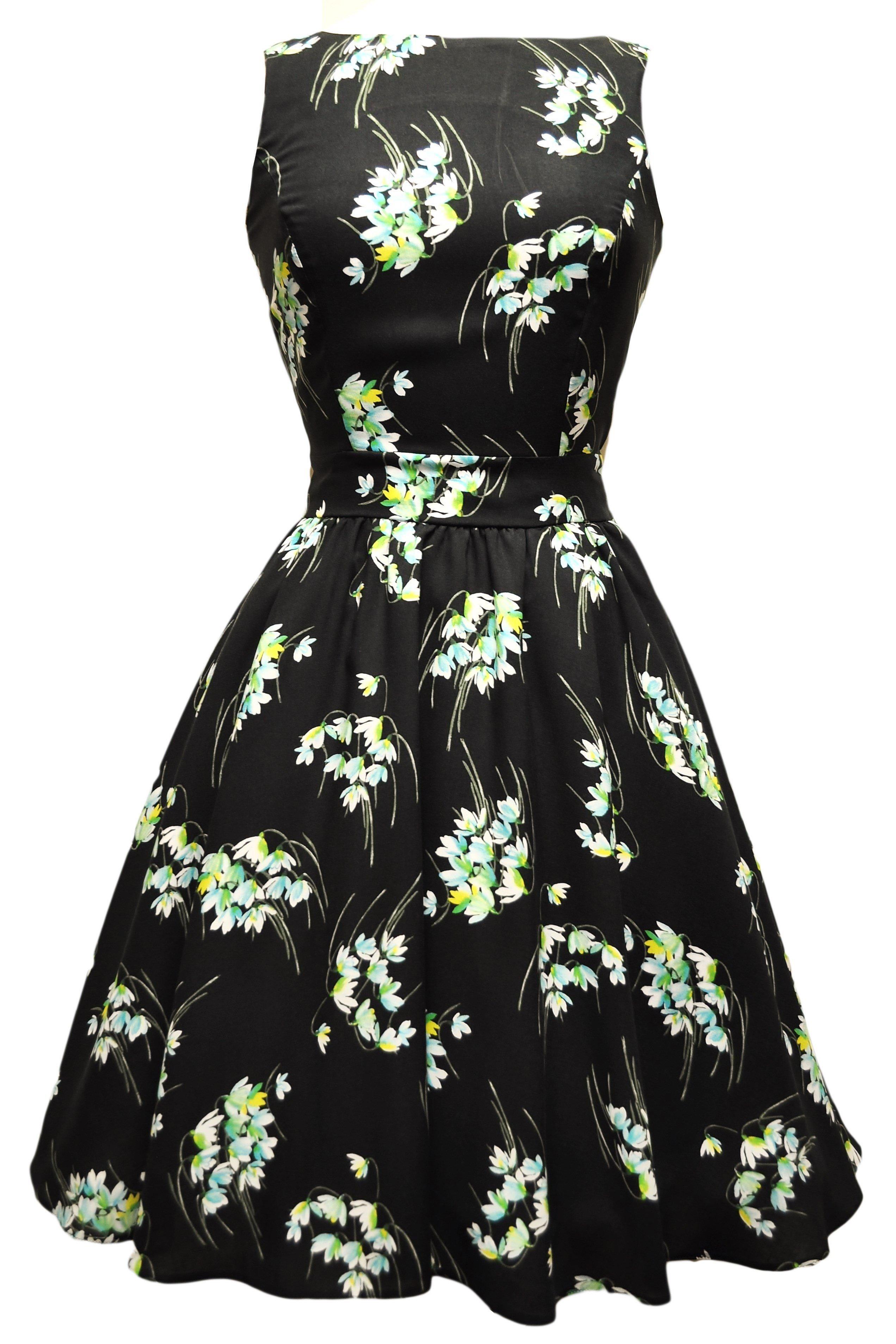 Sort kjole med smukke vintergækker i klare farver
