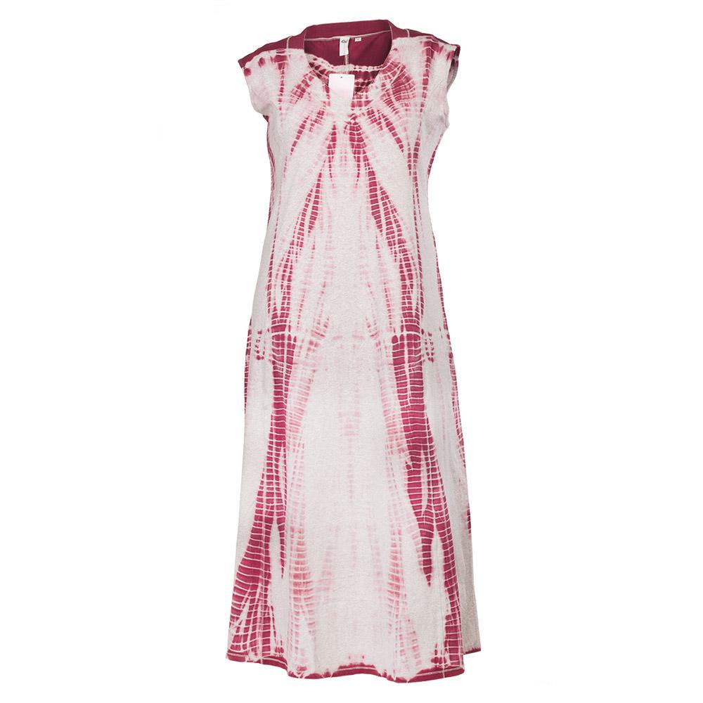 Lang kjole i vinrød batik