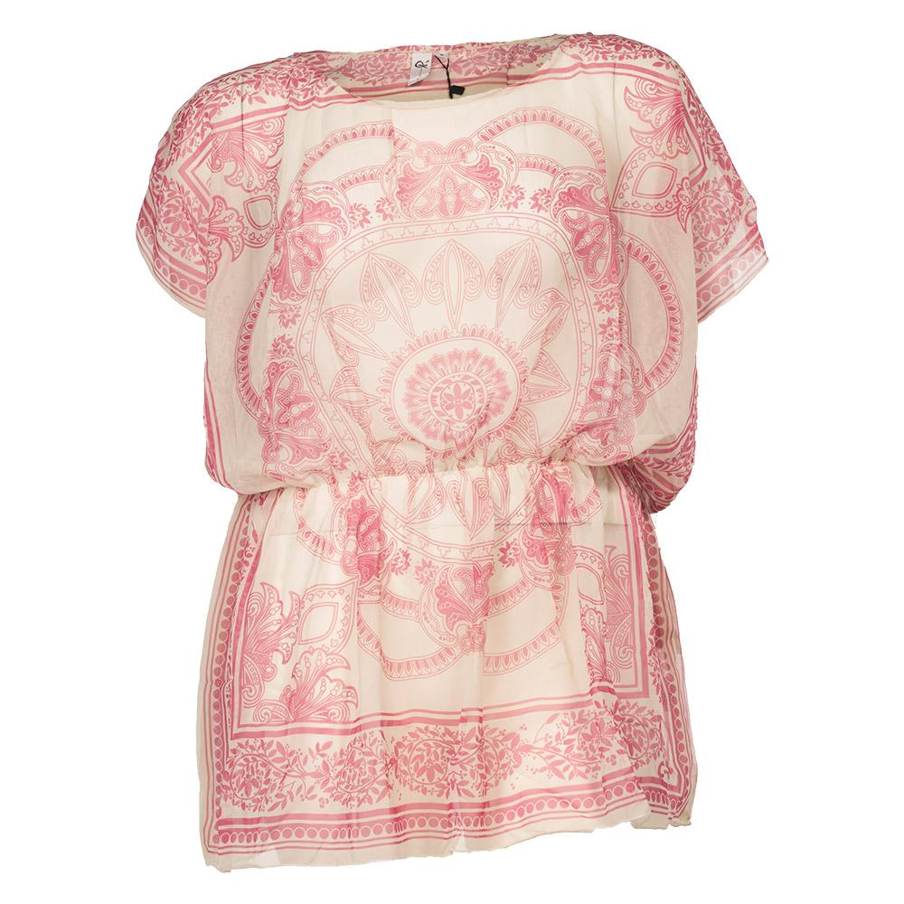 Bluse med lyserød print