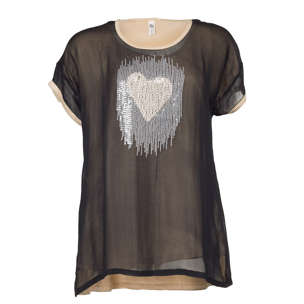 Bluse med hjerte i palietter