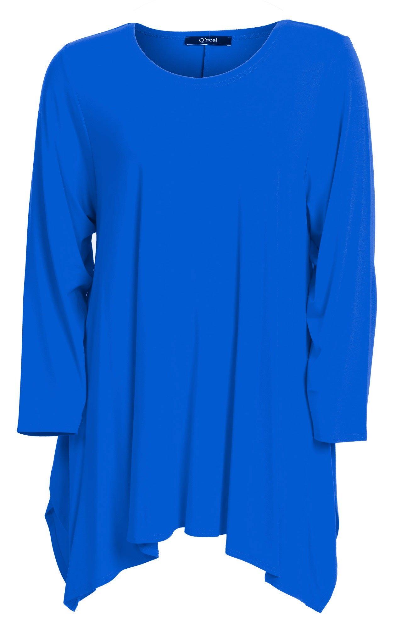 Ensfarvet blå bluse med lange ærmer