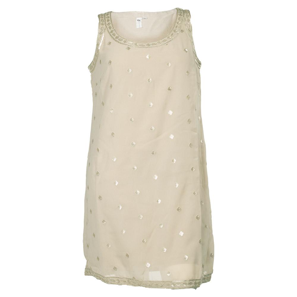 Sandfarvet kjole med palietter og blonder
