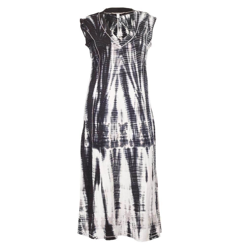 Hvid kjole med sort batik mønster