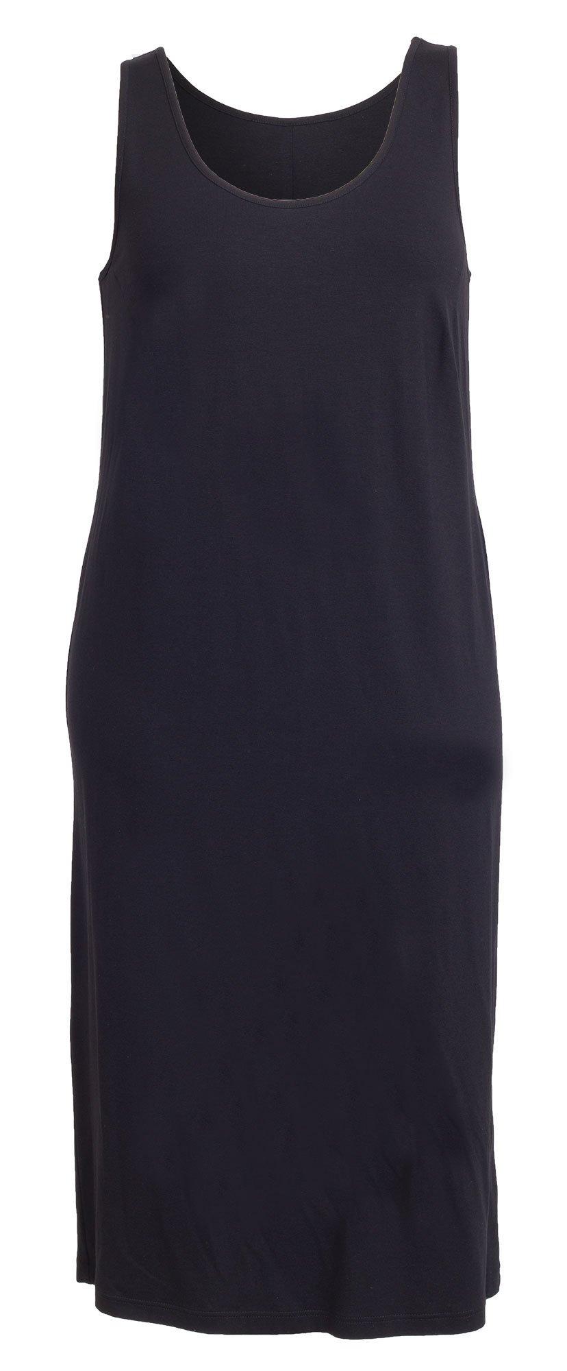 Lang sort jersey kjole i store størrelser