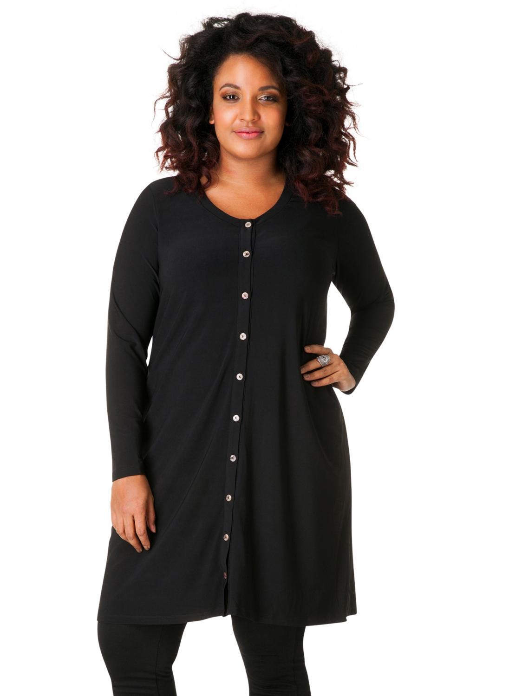 Sort cardigan / skjorte kjole med fine knapper