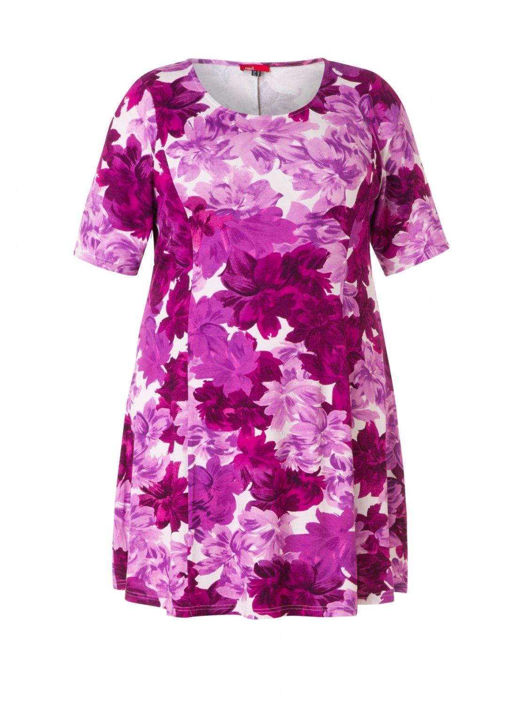 Kjole med blomster i lyserød og bordeaux