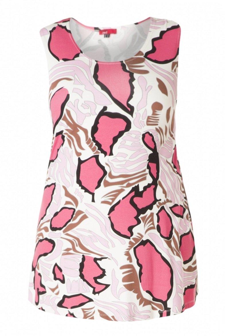 Dejlig let top i viskose jersey med flot mønster i pink og lyserød