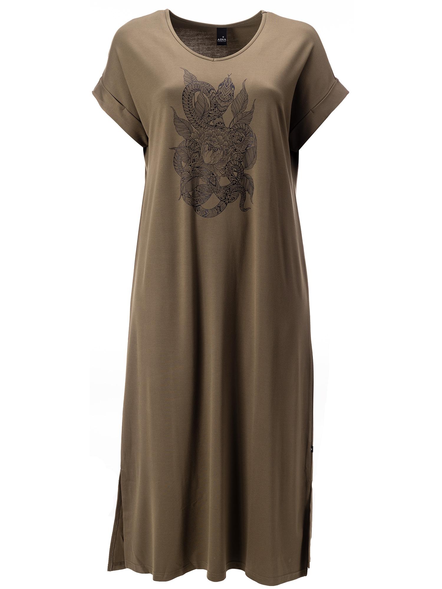 Adia Lang armygrøn kjole i viskosejersey , 46-48 / M