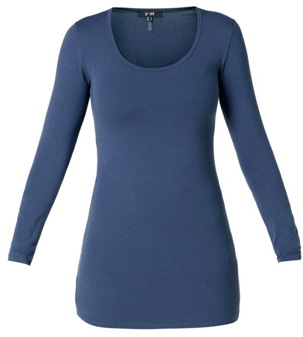 Indigo blå t-shirt med lange ærmer