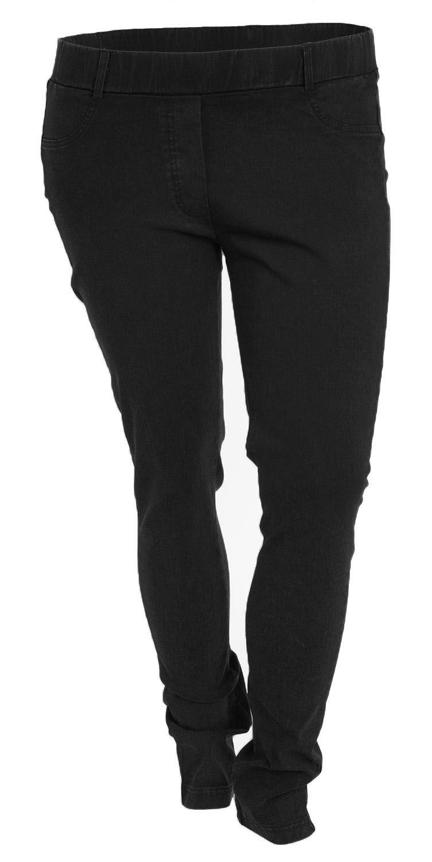 Sorte superstretch bukser med elastik i taljen