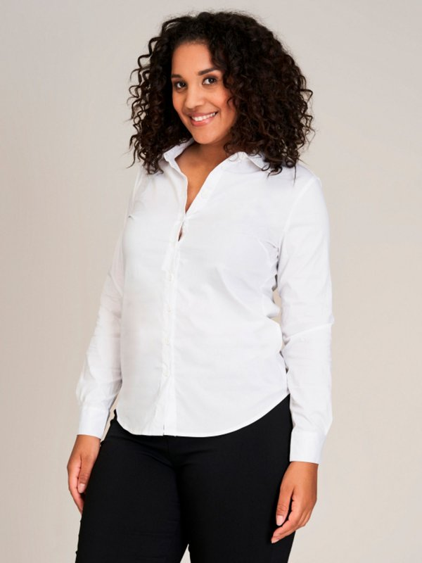 Hvid Skjorte Med Stretch fra Sandgaard (fra Studio)