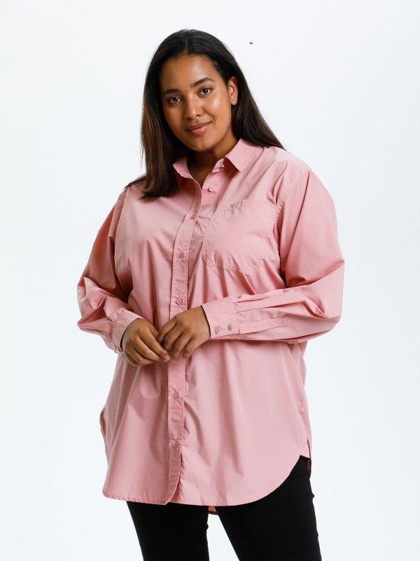 Smuk rosa skjorte i en lækker strækbar kvalitet med bomuld fra Kaffe Curve