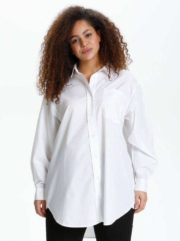 Klassisk hvid skjorte med lange ærmer fra Kaffe Curve