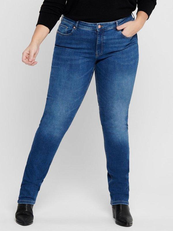 Blå denim bukser med lige ben benlængde 32 fra Only Carmakoma