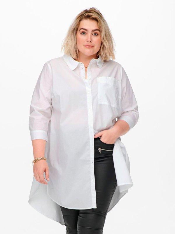 Lang hvid skjorte i lækker bomuld med et godt stræk  fra Only Carmakoma