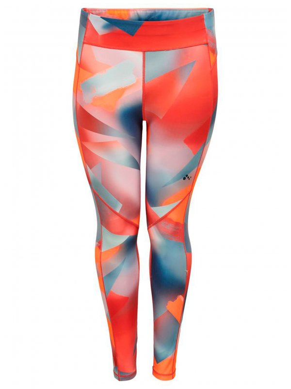 Printet tights med neon farver fra Only Play Curvy