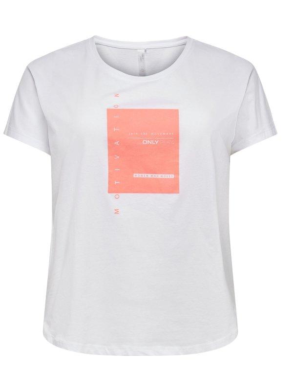 Hvid trænings t-shirt med neon print fra Only Play Curvy