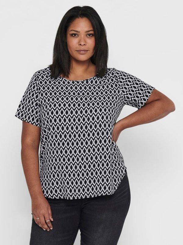 Sort t-shirt med hvidt print fra Only Carmakoma