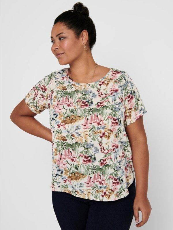 Blomsteret t-shirt med afrundet bund fra Only Carmakoma
