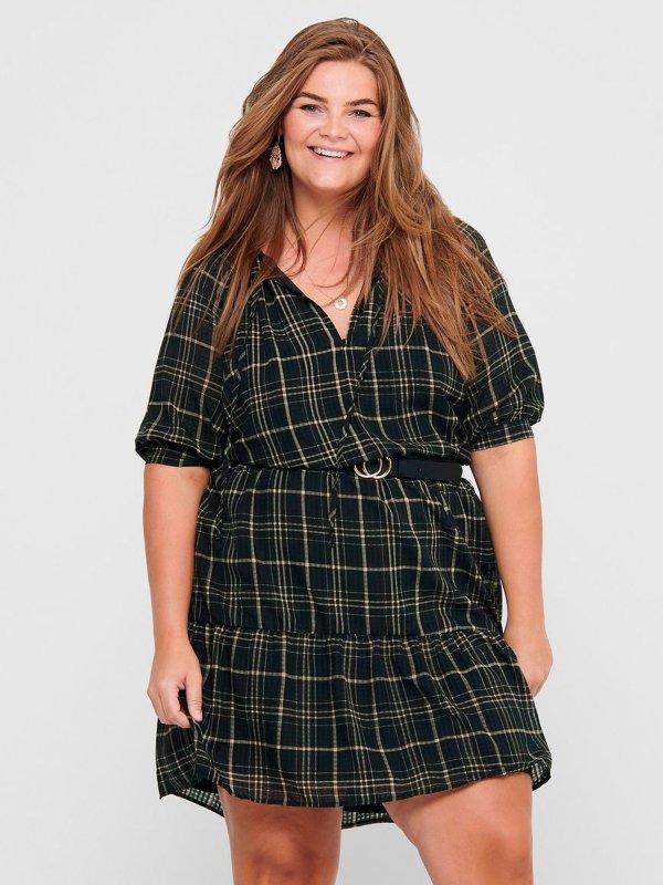 Ternet kjole med flæser fra Only Carmakoma