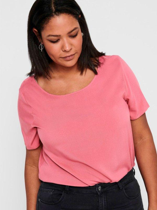 Rosa t-shirt i bæredygtig viskose  fra Only Carmakoma