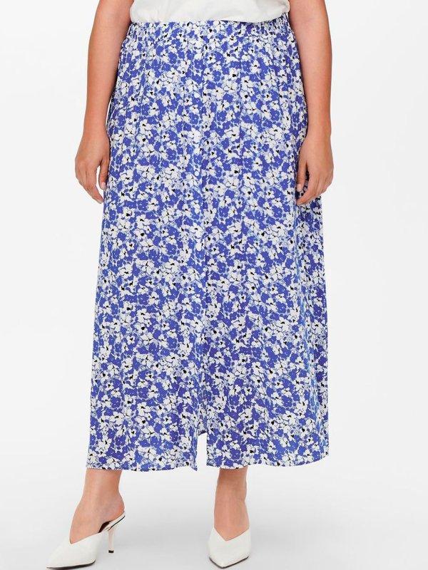 Nederdel med blomsterprint i blå fra Only Carmakoma