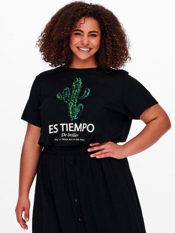 Sort t-shirt med kaktus print i pailletter fra Only Carmakoma