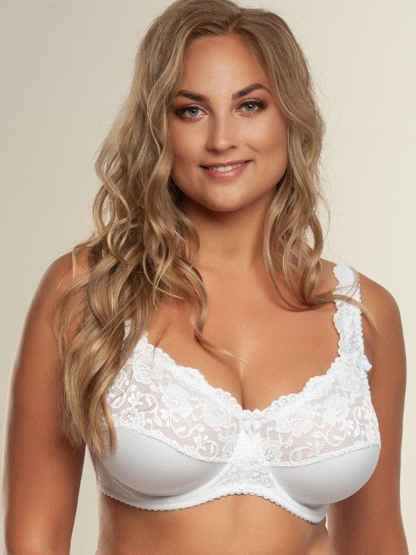 Beate Plain - Hvid Bøjle BH med Blonde i store størrelser fra Plaisir