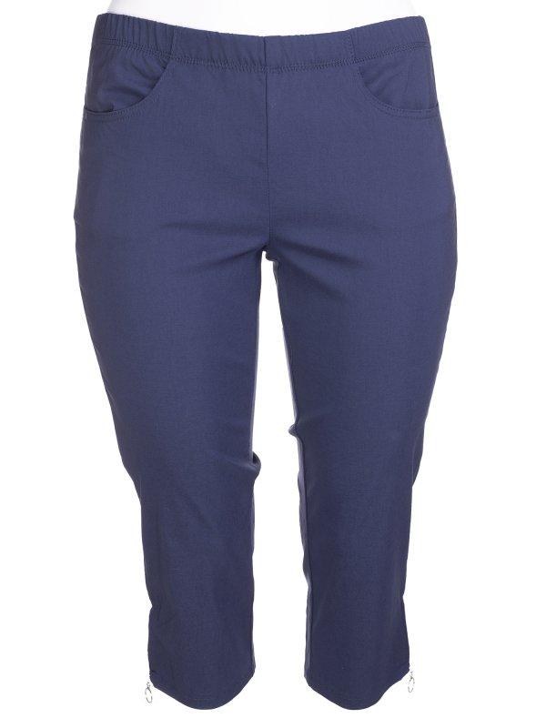 Mørkeblå Jazzy capri bukser med lommer og lynlås detalje fra Zhenzi