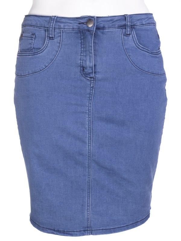 Lyseblå denim nederdel med skånebukser fra Zhenzi